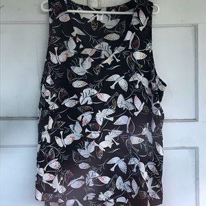 Sleeveless blouse - birds